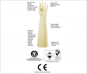 DERMAGRIP Powder Free Latex Elbow Length Procedure Gloves, Sterile